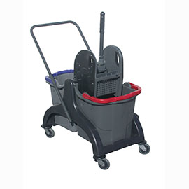 MOPPING CART SET PLASTIC WITH PRESS WITH 2 BUCKETS 25L ECONOMY
