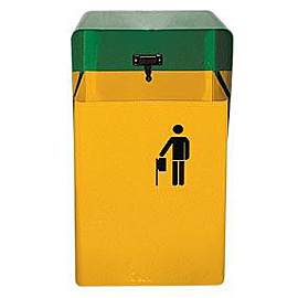 PAPER BIN FOR EXTERNAL AREA METALLIC WITHOUT BASE 506 (YELLOW - GREEN)