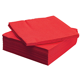 NAPKIN RED  1PLY 23X24 5X750 PCS.