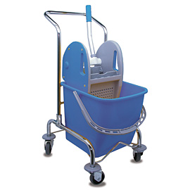 MOPPING CART SET METALLIC SINGLE WITH BLUE BUCKET - PRESS WITH BLUE COVERS