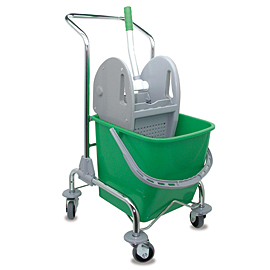 MOPPING CART SET METALLIC SINGLE WITH GREEN BUCKET - PRESS WITH GRAY COVERS