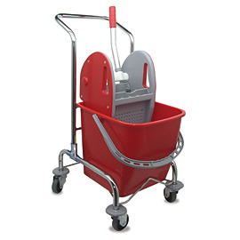 MOPPING CART SET METALLIC SINGLE WITH RED BUCKET - PRESS WITH RED COVERS