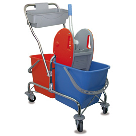 MOPPING CART SET METALLIC DOUBLE WITH BLUE-ORANGE BUCKET - PRESS WITH RED COVERS