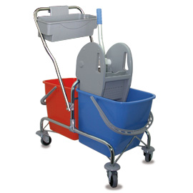 MOPPING CART SET METALLIC DOUBLE WITH BLUE-ORANGE BUCKET - PRESS WITH GRAY COVERS