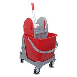 MOPPING CART SET PLASTIC SINGLE WITH RED BUCKET - PRESS WITH RED COVERS