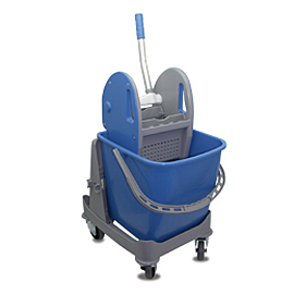 MOPPING CART SET PLASTIC SINGLE WITH BLUE BUCKET - PRESS WITH BLUE COVERS