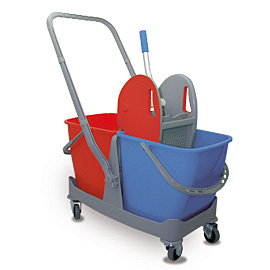 MOPPING CART SET PLASTIC DOUBLE WITH BLUE-RED BUCKET - PRESS WITH RED COVERS