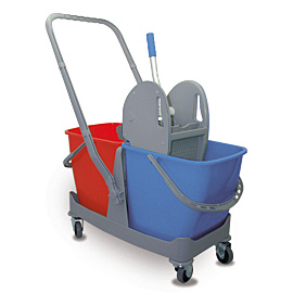 MOPPING CART SET PLASTIC DOUBLE WITH BLUE-RED BUCKET - PRESS WITH GRAY COVERS