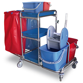 COMPLETE MOPPING SET DOUBLE WITH DOUBLE BAG AND 2 BUCKETS BLUE-RED